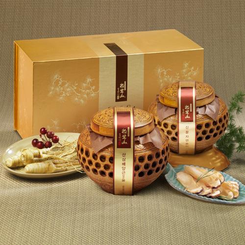 [신지식인] 특허받은 산꿀 자연송이,산삼배양근 선물세트 4호이식사
