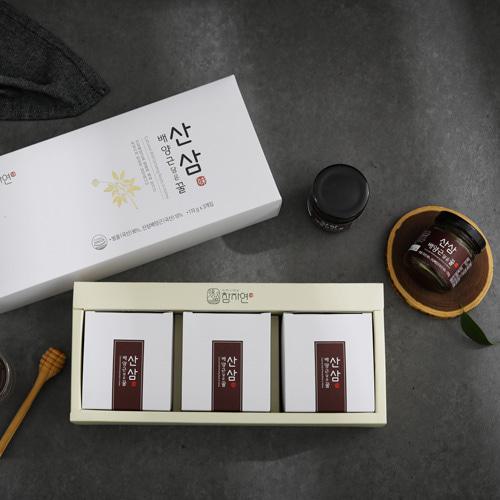 [신지식인] 특허받은 산삼배양근,꿀 선물세트 110gx3(유리병)이식사