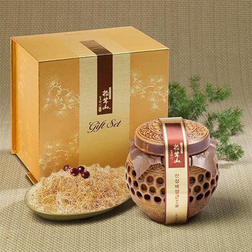 [신지식인] 특허받은 산삼배양근,꿀 선물세트 600g(도자기)이식사