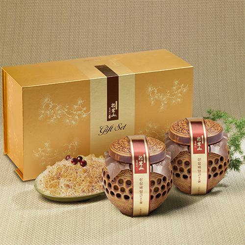 [신지식인] 특허받은 산삼배양근,꿀 선물세트 600gx2(도자기)이식사