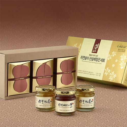 [신지식인] 특허받은 산꿀 자연송이,산삼배양근 선물세트 1호이식사