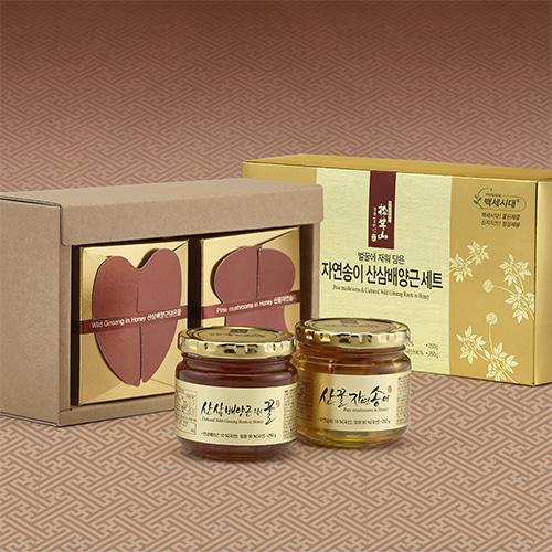 [신지식인] 특허받은 산꿀 자연송이,산삼배양근 선물세트 2호이식사