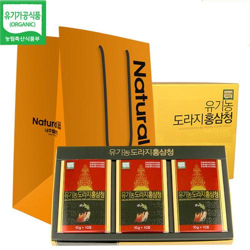 [유기가공인증] 유기농 도라지홍삼청 선물세트이식사