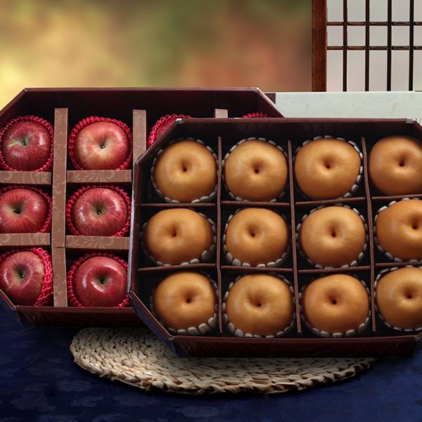 [명품팔각] 사과(12과)x1박스+신고배(12과)x1박스 실속세트이식사
