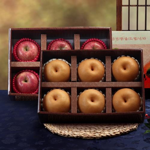 [명품사각] 사과(6과)x1박스+신고배(6과)x1박스 VIP 세트이식사