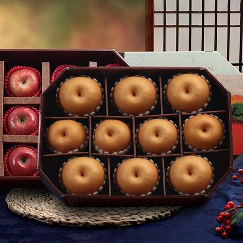 [명품팔각] 사과(12과)x1박스+신고배(10과)x1박스 VIIP 세트이식사