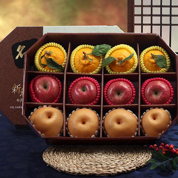 [명품팔각] 사과,배,한라봉 VIP 혼합세트/5.5kg이식사