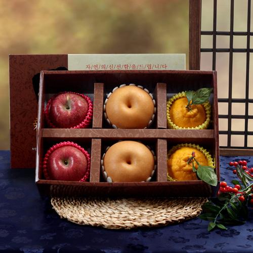 [명품] 사과+배+한라봉 3종 혼합세트/2.3kg이식사